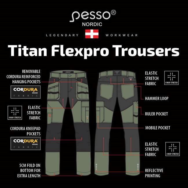 Darba bikses Titan Flexpro, green C48, Pesso