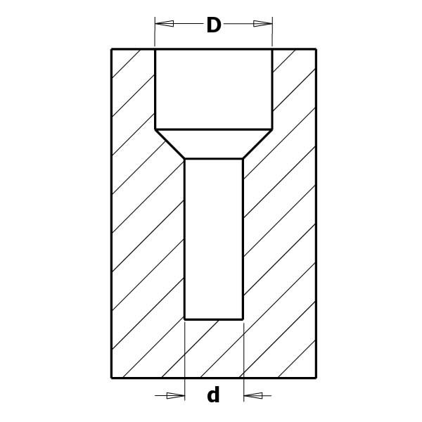 DRILL BIT WITH 45° COUNTERSINK SET HW Z2  S=8  D=3/12 RH, CMT