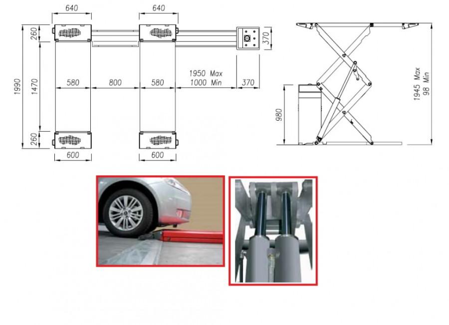 Topeltkäärtõstuk STRATOS SRM, 3,2T, põrandapealne Werther, Intertech