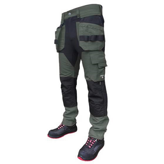 Trousers with holsterpockets Titan Flexpro, green C50, Pesso
