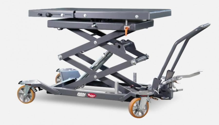 Ratastel käärtõstelaud jalgpumbaga 1000 kg, Blitz