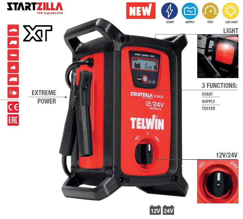 12-24V kaasaskantav käivitusabi-tester StartZilla 9024 XT, Telwin