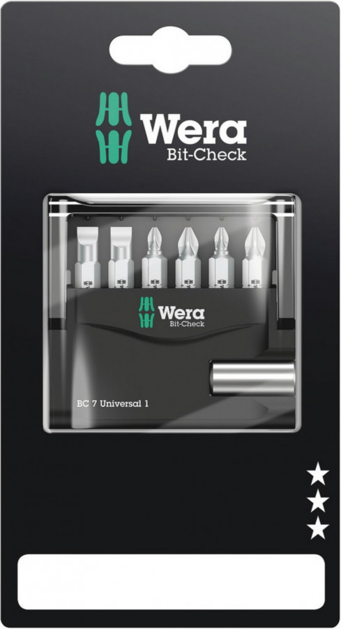 Otsakute kmpl Bit-Check 7 Universal 1 SB PH, PZ SL 7-osa, Wera