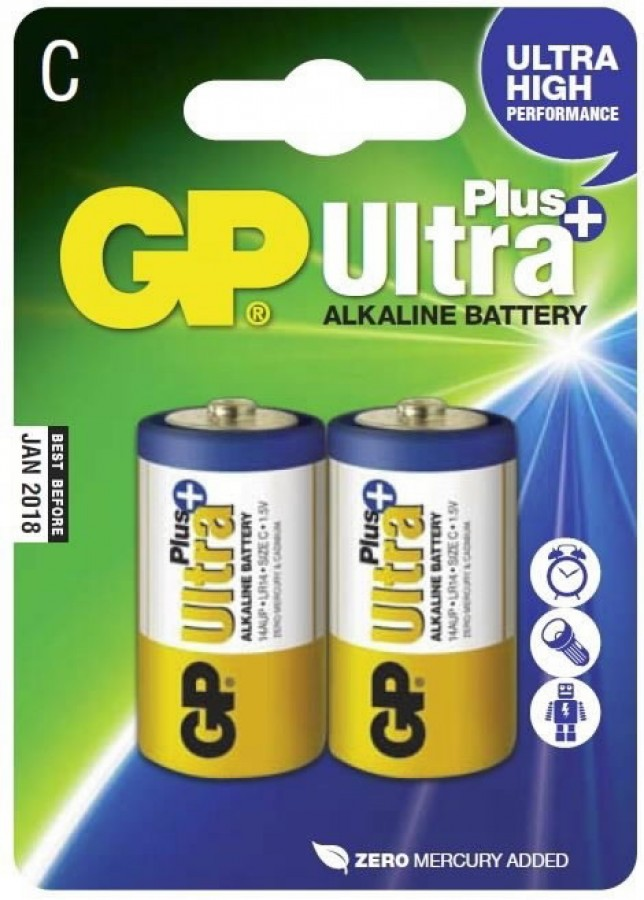Battery C Lr14 1 5v Ultra Plus Alkaline 2 Pcs Gp