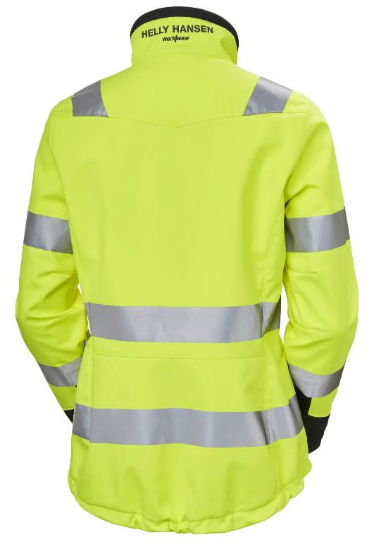 Softshell jakk Luna naiste kõrgnähtav CL2, kollane/must 2XL, Helly Hansen WorkWear