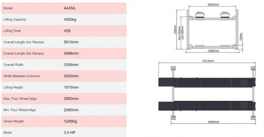 4-post tõstuk A455A 5,5T,  4998mm, sillareg. AMGO