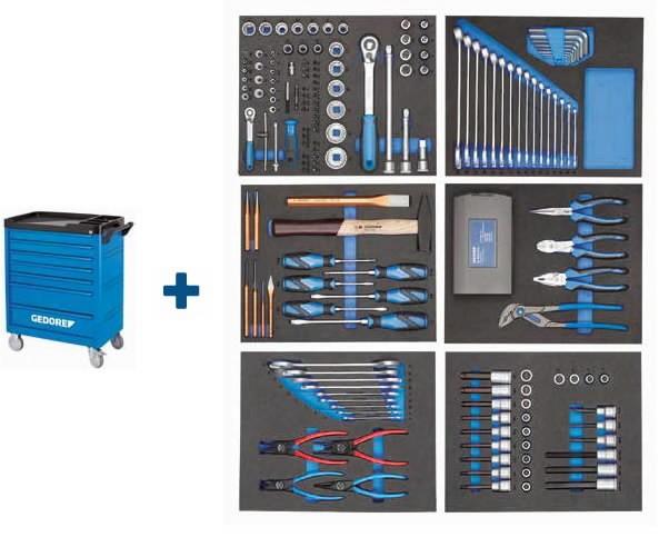 Tööriistakäru ja 190-osaline tööriistakomplekt WSL-L-TS-190, Gedore