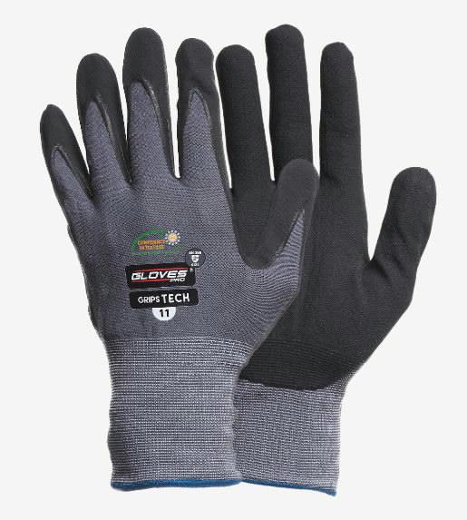 Kindad, peopesas vahustatud nitriil, Grips Tech 8, Gloves Pro®
