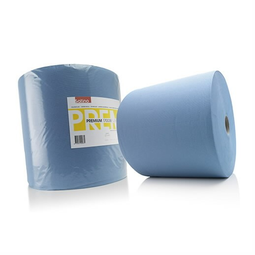 Paberrätik rullis,  Premium sinine,  3- kihiline, 380m, Satino