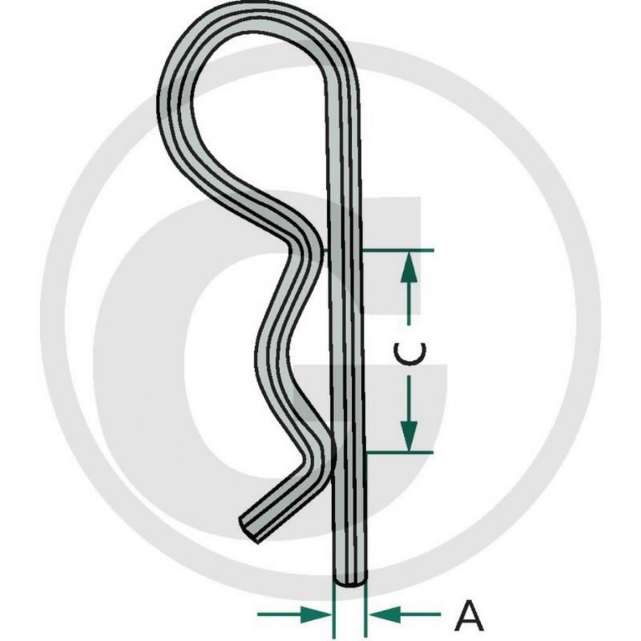 R-clip set 2 mm, Ø 8-14 mm, GRANIT