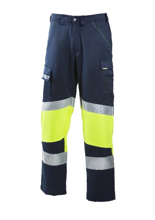 Tööpüksid 6032 kõrgnähtav CL1, sinine/kollane 62, Dimex