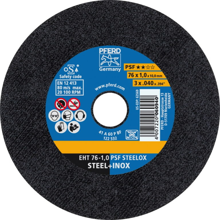 Cutt off wheel 76x1/10mm PSF STEELOX, Pferd