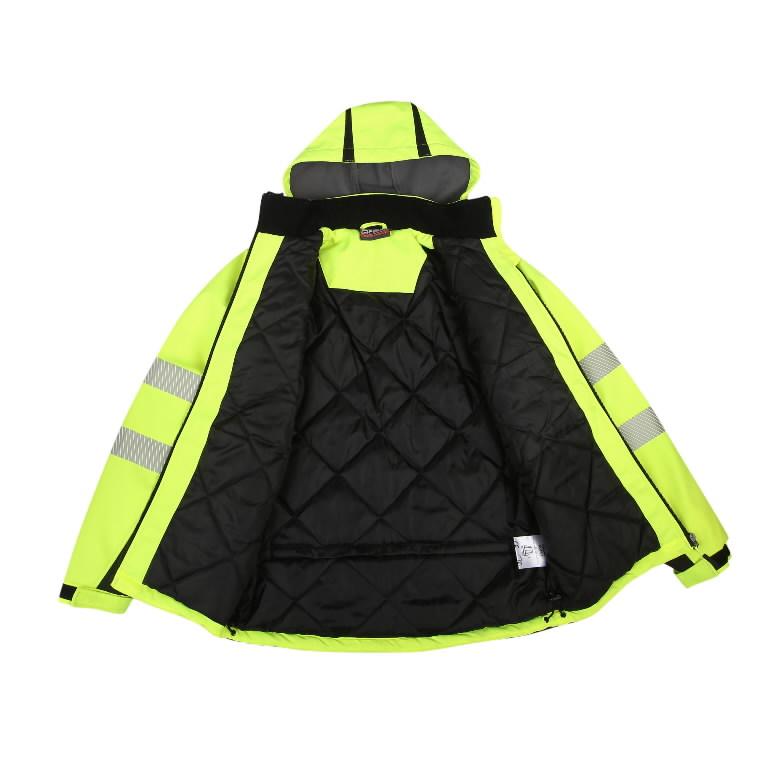 Softshell jakk Calgary voodriga kõrgnähtav, kollane 4XL