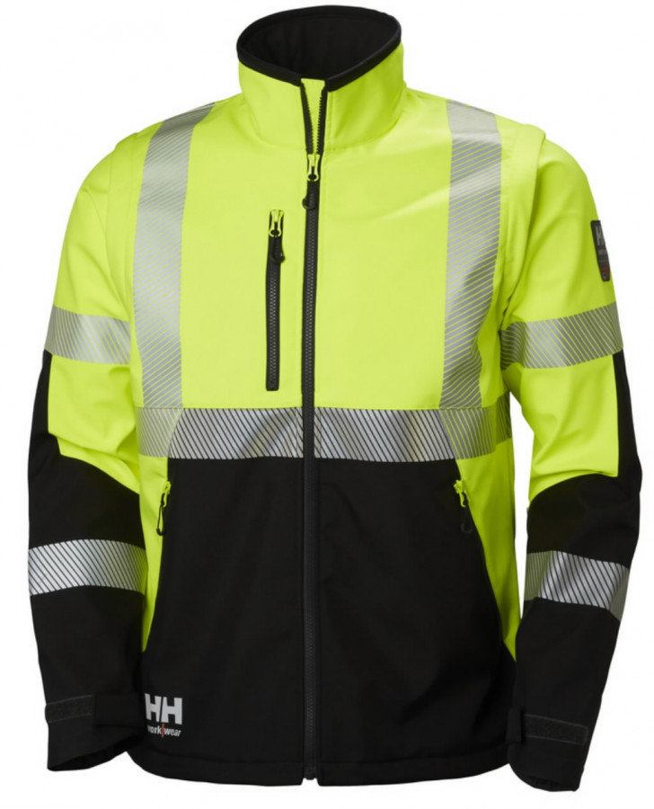 Softshell jakk Icu 2-in-1, kõrgnähtav CL3, kollane/must M, Helly Hansen WorkWear