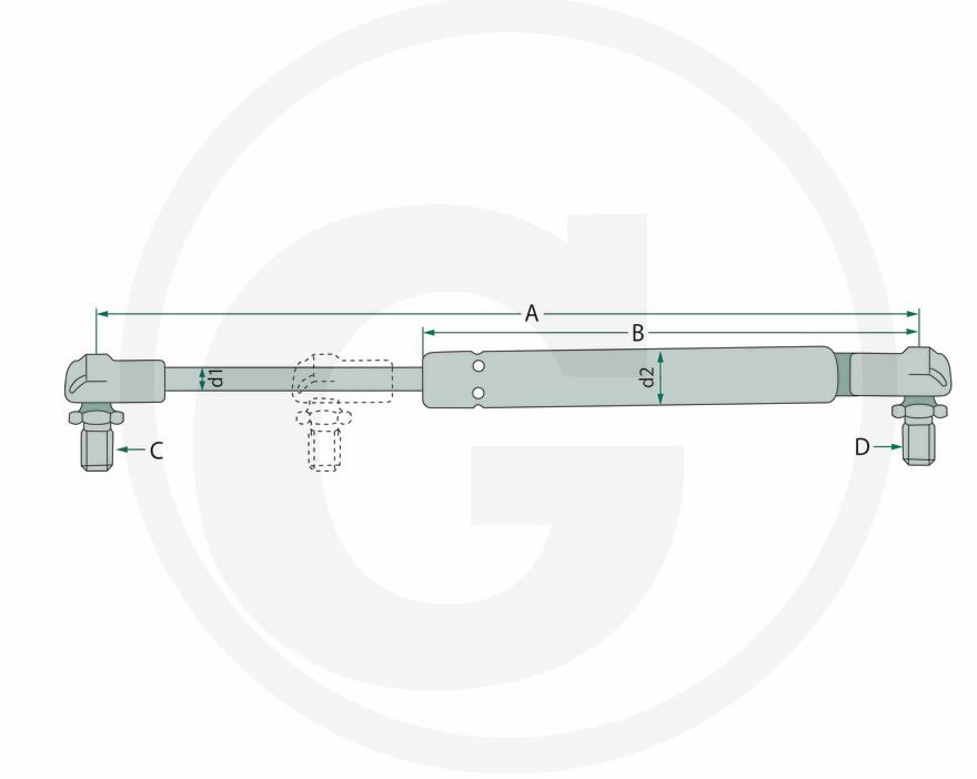 Gas strut 250N A255; B135; C8; d2 22; d1 10; CASE 629922, Granit