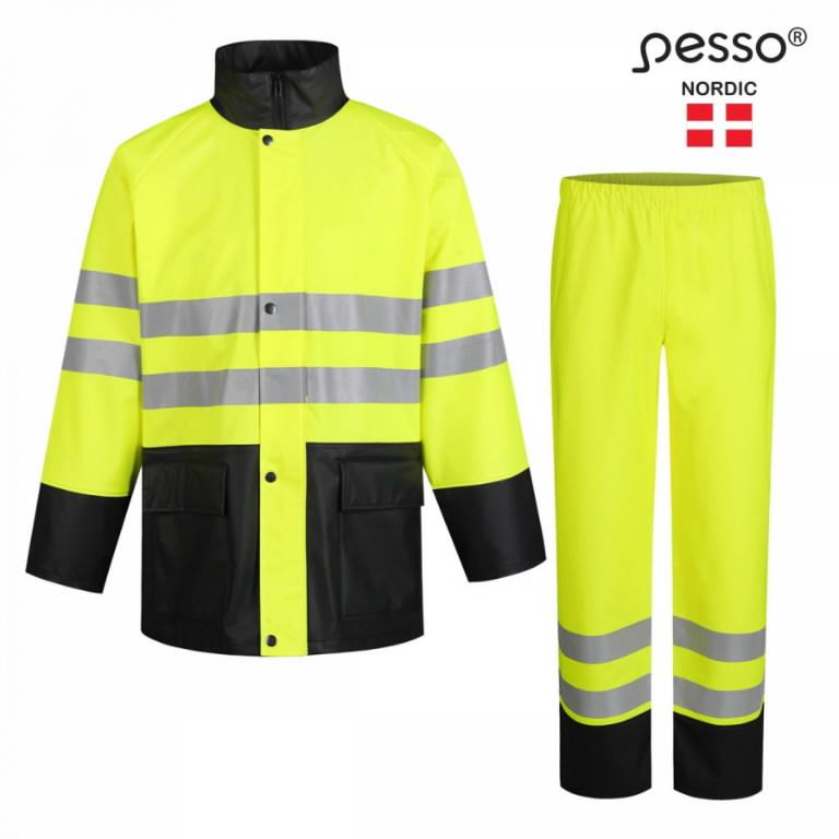 Rain set GPUHV3205_G, Hi-Vis CL2, yellow/black XL, Pesso