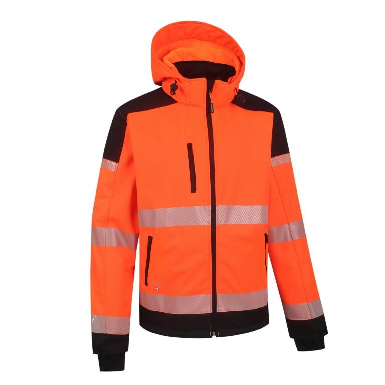 Softshell jakk Palermo kõrgnähtav CL2, oranz/must 4XL