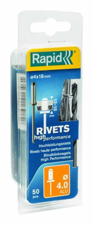 Neet alumiinum Al 4,0x18mm 50tk + Drill C, Rapid