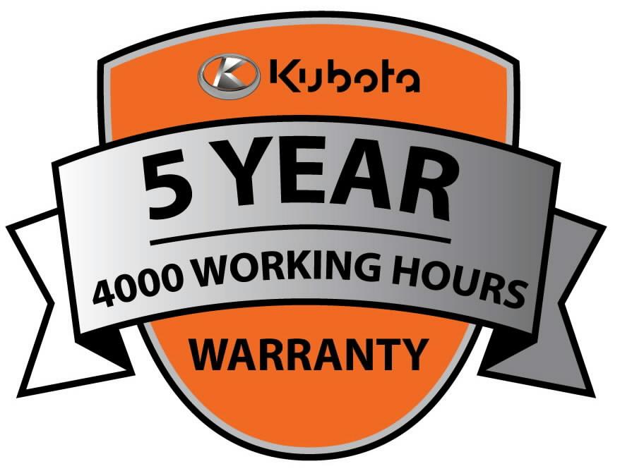 Manufacturer warranty 5 years/4000 working hours for MGX, Kubota