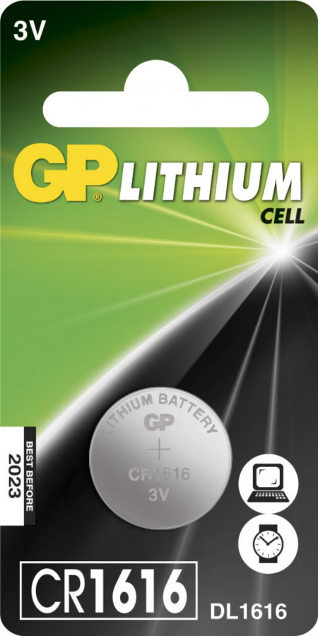 Patarei CR1616, 3V, Liitium, 1 tk., GP