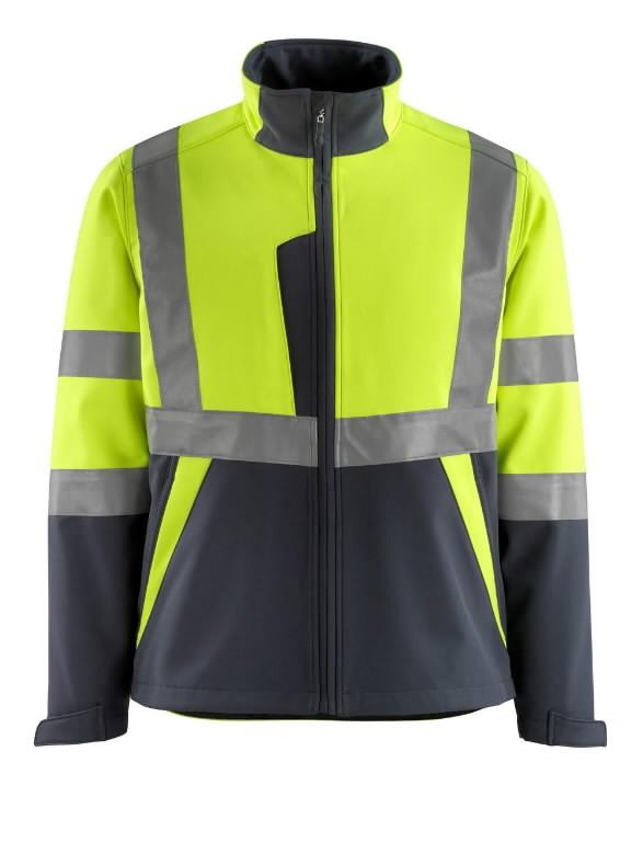 Softshell jakk Kiama kõrgnähtav CL2, kollane/t.sinine L, Mascot