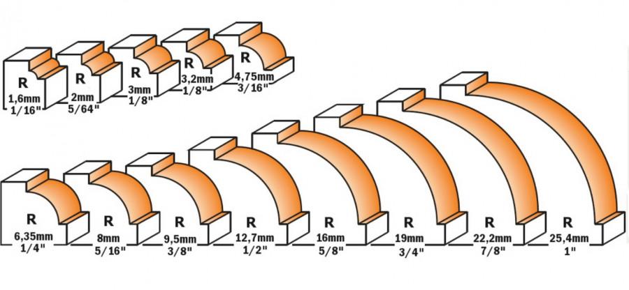 BEADING BIT W/BRNG HW S=6 D=22,2X12,7 R4,75, CMT