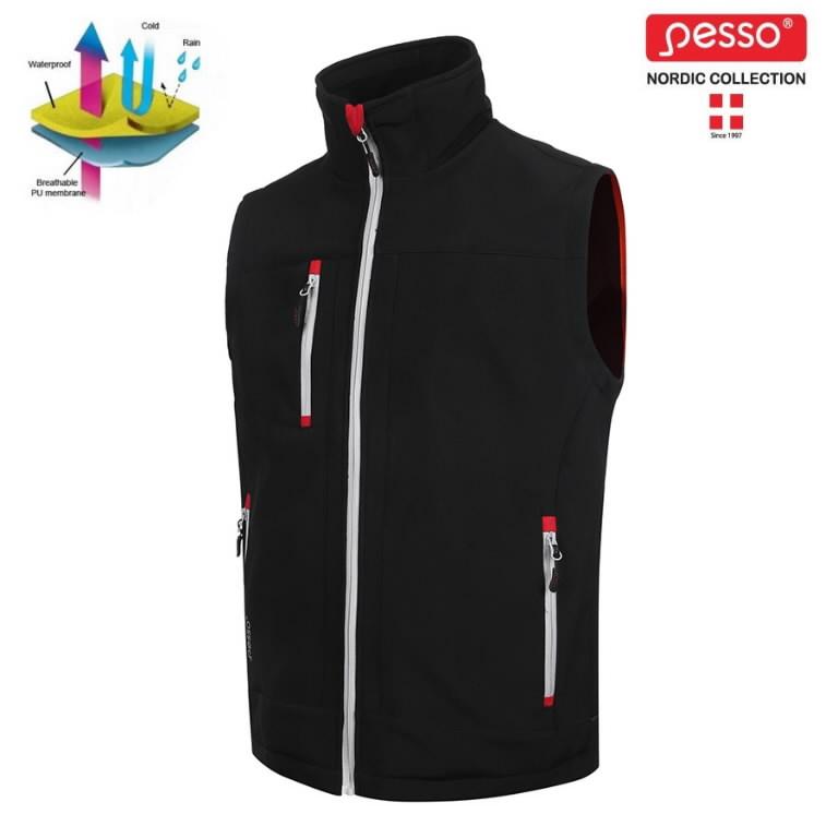 Vest softshell, SOFTBLACK, must L, Pesso