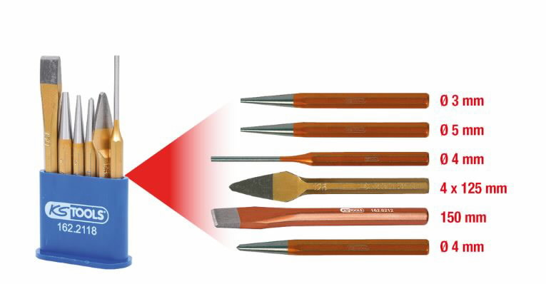 Augulööja ja meislite komplekt, 6 tk, metall karbis, KS Tools