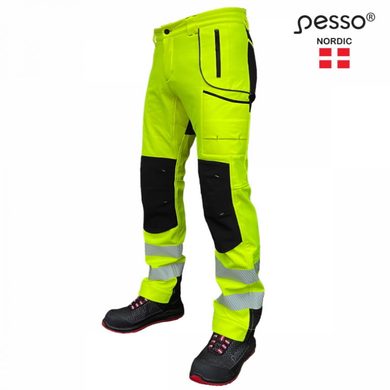 Softshell püksid Nebraska, kõrgnähtav CL2, kollane/must C50