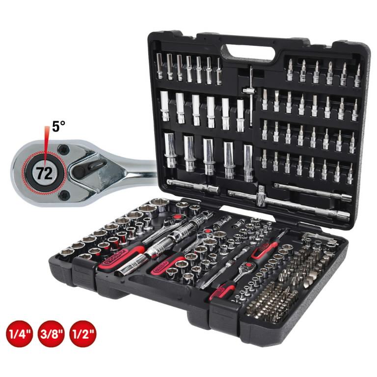 padrunikomplekt CHROMEplus 1/4-3/8-1/2 kmpl 195-osa, KS Tools