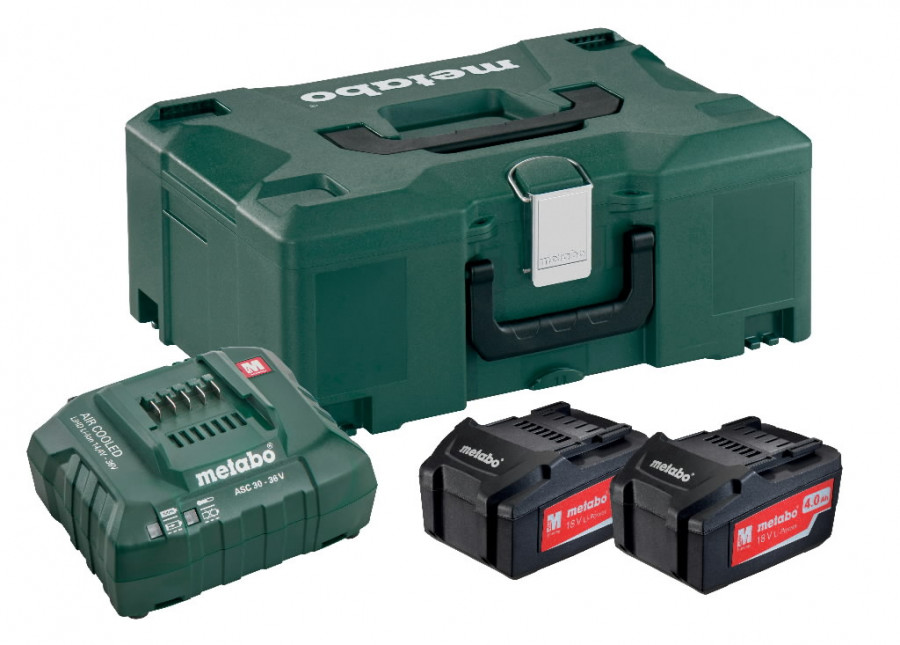 Basic set: 2 x 4.0 Ah + laadija ASC 55 + Metaloc kohver, Metabo