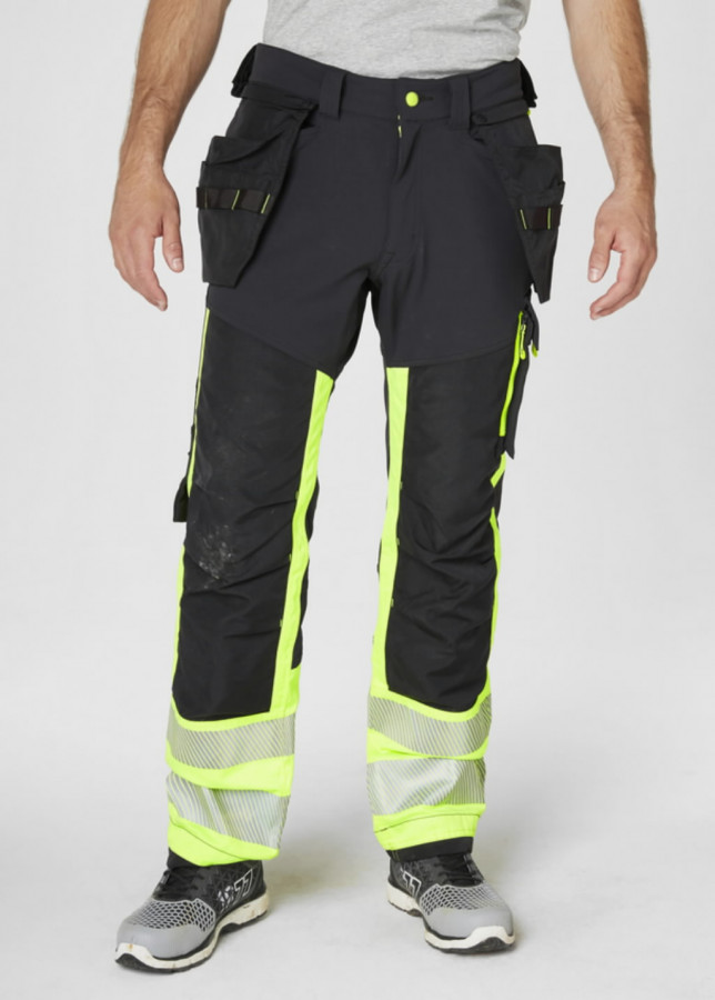 Tööpüksid ripptaskutega Icu kõrgnähtav CL1, kollane/must D116, Helly Hansen WorkWear