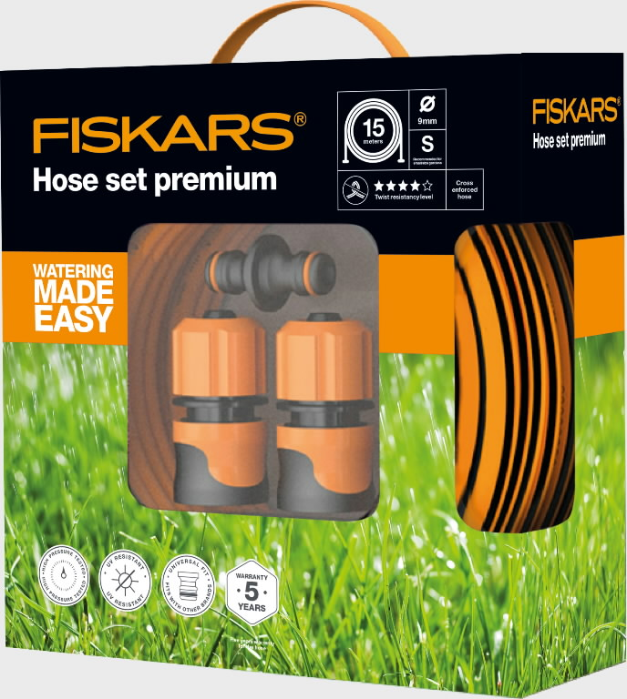 hose set premium q4 9mm 3 8 15m fiskars fiskars. Black Bedroom Furniture Sets. Home Design Ideas