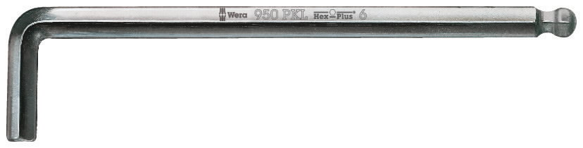 Raktas HEX2,5 950PKL, L-forma, ilgas, apvalus galas, Wera