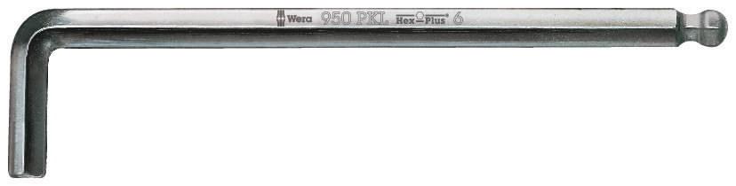 Raktas HEX10 950PKL, L-forma, ilgas, apvalus galas, Wera
