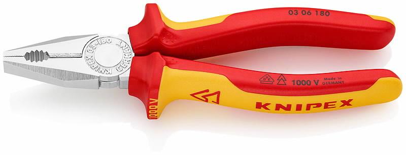 Replės kombinuotos, VDE, 180 mm, Knipex