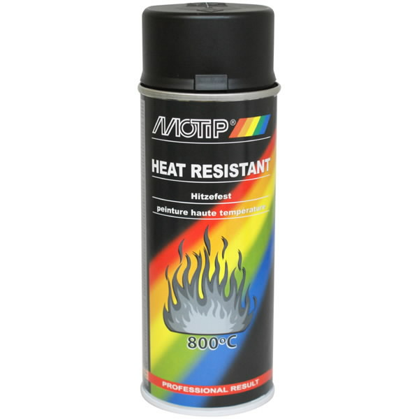Kuumakindel värv THERMO SPRAY 800°C must 400ml aerosool, Motip