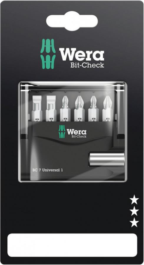 otsak Bit-Check 7 Universal 1 SB kmpl PH, PZ SL 7-osa, Wera
