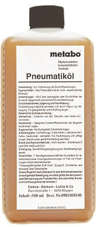 Pneumotööriista õli 0,5 L, METABO