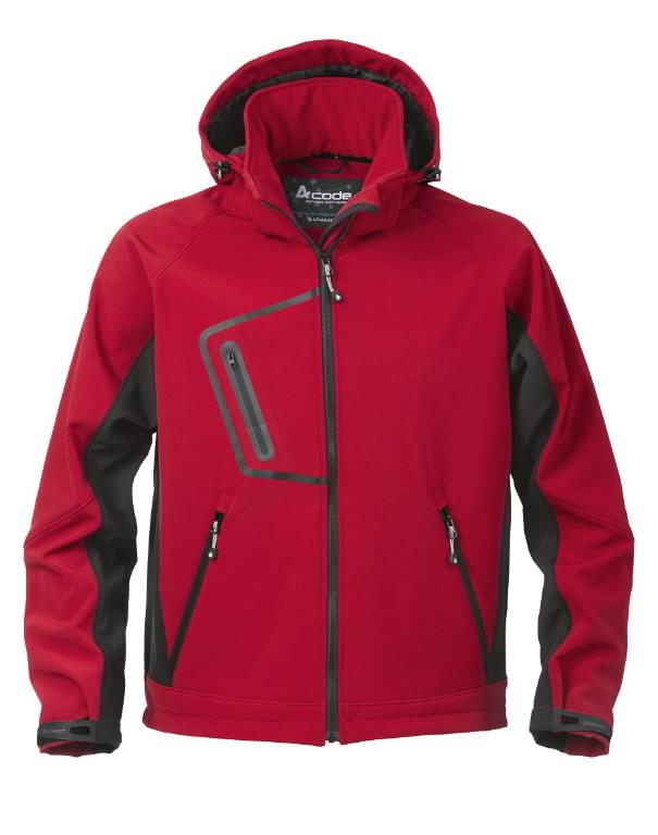 Softshell jakk kapuutsiga 1444 punane, L, ACODE