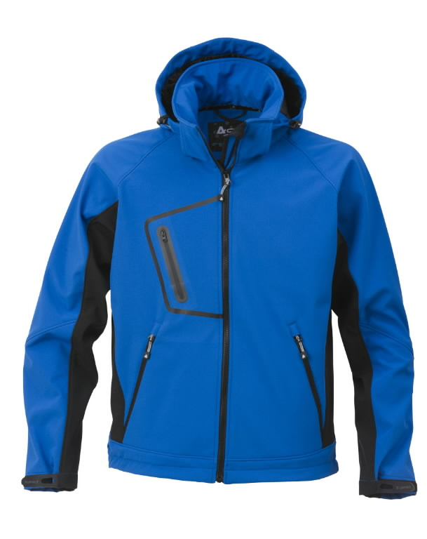 Softshell jakk kapuutsiga 1444 sinine, 2XL, Acode