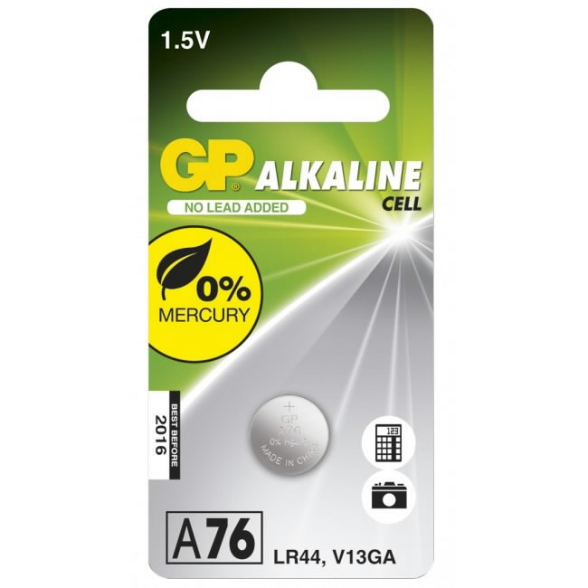 "Patarei LR44 ""tablett""; 1,5V; 110mAh, tk. pakis  Alkaline, GP"