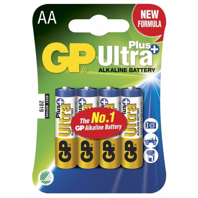 Patarei AA/LR6, 1,5V, pakis 4 tk  Ultra Plus,, GP