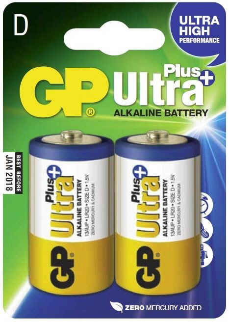 Patarei D/LR20, 1,5V, pakis 2 tk  Ultra Plus, GP