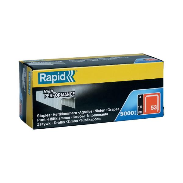 Kabės 53/10 5000vnt. 11,4x0,75mm raudonos, kartoninė pakuotė, Rapid