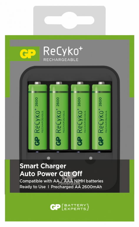 Kroviklis PB570+4 tk GP ReCyko AA 2600 mAh NiMH baterija, Gp