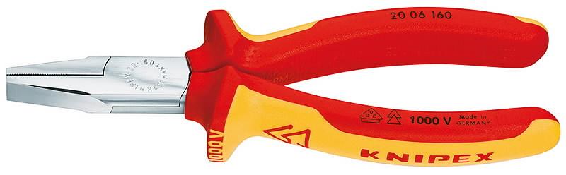 Replės plokščiom nosim, VDE, 160 mm, Knipex