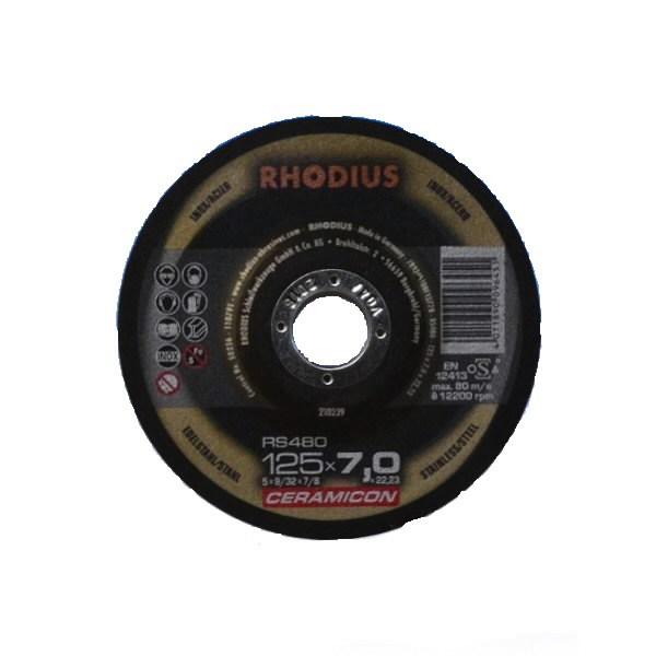 Šlifavimo diskas nerūdijančiam plienui RS480 125x7 CERAMICON, Rhodius