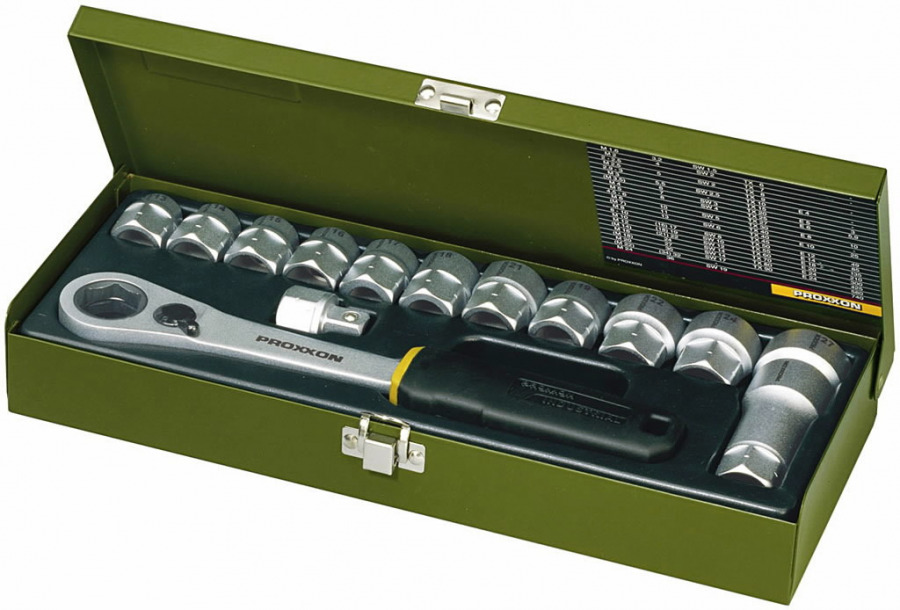 Galvučių, terkšlės kompl., 13-27 mm, kiauros, 14 vnt., Proxxon