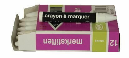 Greased marking chalk 100x9,5 mm, white, VLAMBOOG